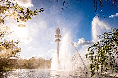 Germany, Hamburg, Planten un Blomen park and TV Tower - p300m1028599f by Ega Birk