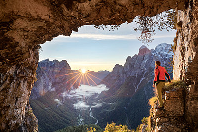 Italy, Veneto, Belluno, Agordino. Lookout from the legendary San Lucano cave on the valley, Pale dei Balconi, Dolomites (MR) - p651m2006952 by ClickAlps