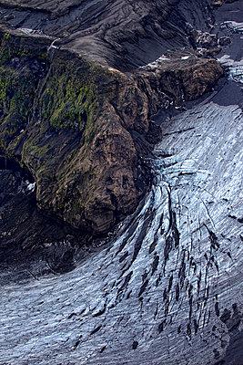 Vatnajökull glacier, rock formation with crevasses, Landmannalaugar, Iceland - p1026m992035f by Romulic-Stojcic