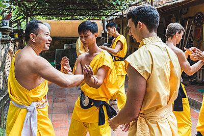 Vietnam, Hanoi, men exercising kung fu, european man learning kung fu - p300m2013197 von William Perugini