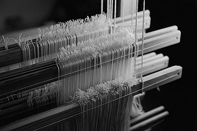 Close up wool on wooden loom - p301m2213612 by Toby Mitchell