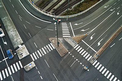 Elevated view of street intersection - p312m1556973 by Kentaroo Tryman
