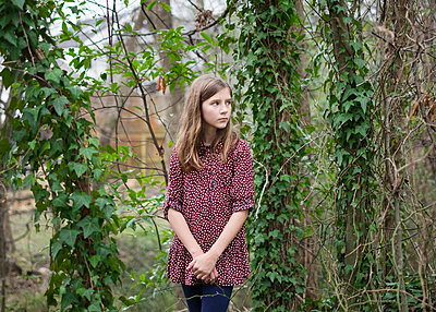 Girl Standing in front of Trees - p1503m2020425 by Deb Schwedhelm