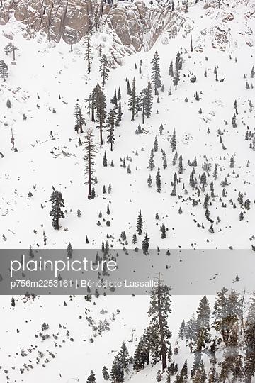 Squaw Valley im Schnee, Luftbild, Kalifornien, USA - p756m2253161 von Bénédicte Lassalle