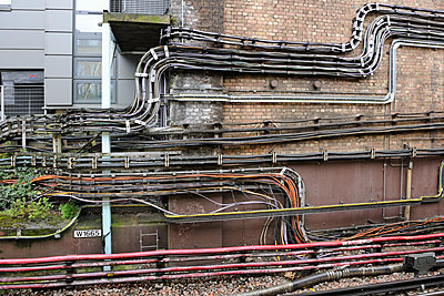 Electric cables at station - p1048m1123515 by Mark Wagner