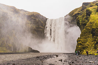 Skógafoss waterfall along route 1 - p1166m2246246 by Cavan Images