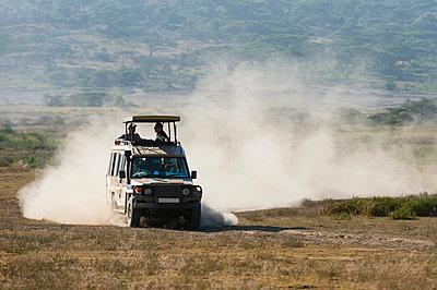 A safari vehicle driving in the Ndutu area, Ndutu, Ngorongoro Conservation Area, Serengeti, Tanzania - p429m2019111 by Delta Images