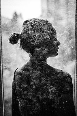 Silhouette of girl behind window with frost patterns - p1642m2222239 by V-fokuse