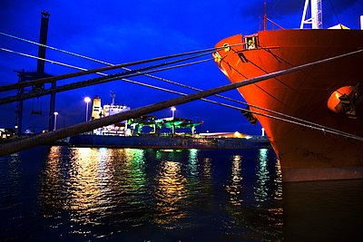 Container ship docked at port - p528m713853 by Kenneth Hellman