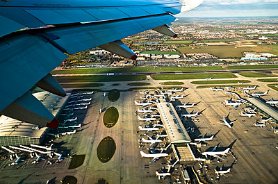 London Heathrow Airport as seen from an airplane.  - p1424m1500835 by Rob Hammer