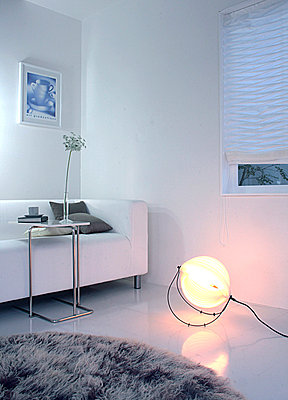 Stylish Electric Lamp On Floor In Living Room  - p307m660227f by AFLO
