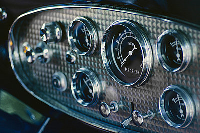 Dashboard of an antique car - p4422442f by Design Pics