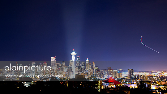 Seattle skyline lit up at night, Seattle, Washington, United States