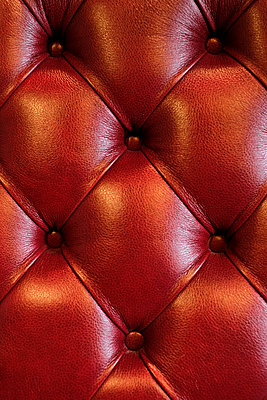 Red leather settee - p1228m1492091 by Benjamin Harte