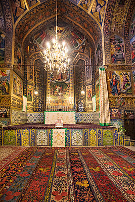 Iran, Esfahan.  The stunning interior of the Armenian Vank Cathedral. It took almost 50 years to complete from the start of construction in 1606. - p652m1505157 by Nigel Pavitt
