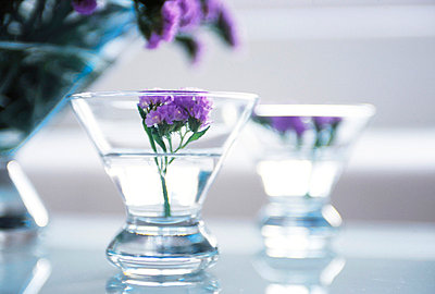 Purple Flowers In Glass Bowls  - p307m660252f by AFLO
