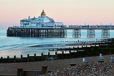 Eastbourne Pier in morning light, Eastbourne, East Sussex, England, United Kingdom, Europe - p871m2023382 by Rudi Sebastian