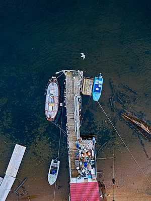 Harbour, Barents Sea, Teriberka, Kolsky District, Murmansk, Russia, aerial view - p1108m2193235 by trubavin