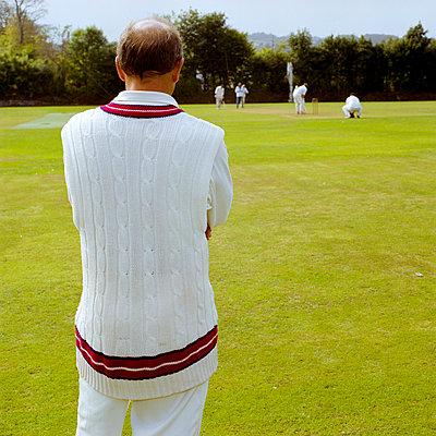 Cricket man in jumper, Penryn, Cornwall - p1201m1049979 by Paul Abbitt