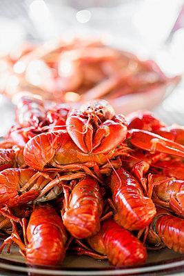 Crayfish on plate - p312m1139886 by Lieselotte Van Der Meijs