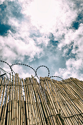 Bamboo fence and razor wide against the sky  - p794m2215965 by Mohamad Itani