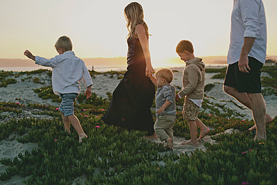 Family walking amidst plants at beach - p1166m1530864 by Cavan Images
