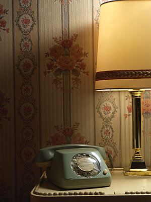 Vintage  telephone with rotary dial - p1376m2081965 by Melanie Haberkorn