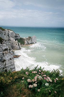 Grüne Steilküste von Étretat am Meer in Frankreich im Sonnenschein - p1497m2092642 von Sascha Jacoby