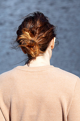 Back Of Woman At lake - p1248m2076329 by miguel sobreira