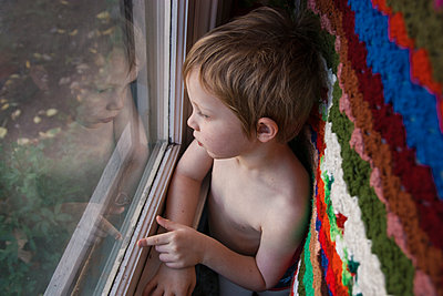 Child Gazing Out Window - p1262m1110478 by Maryanne Gobble