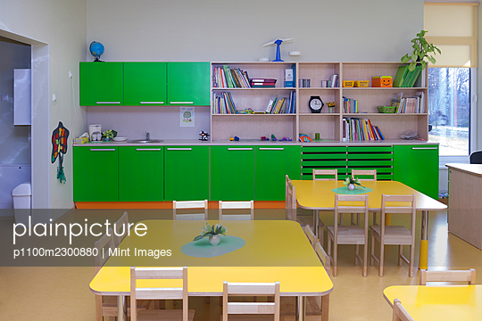 Modern day care nursery or pre-school kindergarten school, spacious interiors, classroom - p1100m2300880 by Mint Images