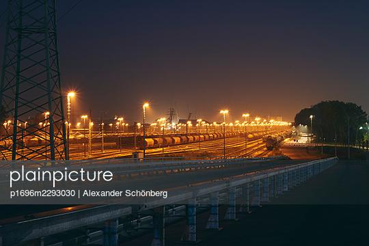 Goods station by night - p1696m2293030 by Alexander Schönberg