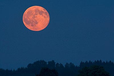 Germany, rise of full moon - p300m1068997f by Ulrich Hagemann