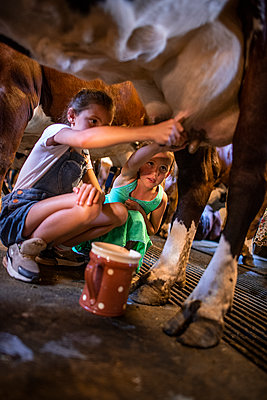 Girls milking a cow - p1007m2219941 by Tilby Vattard