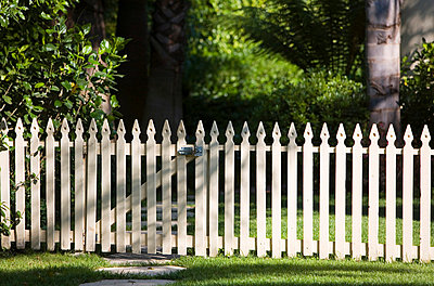 White Picket Fence with Gate - p5550627f by LOOK Photography