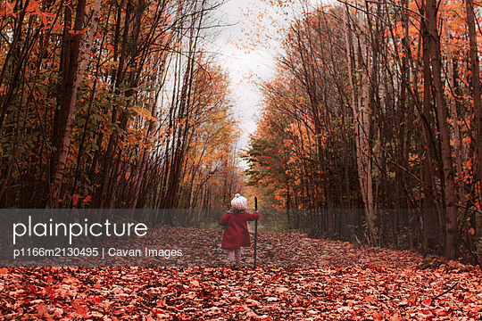 Little girl walks outdoors in leaves with a stick on a fall day - p1166m2130495 by Cavan Images