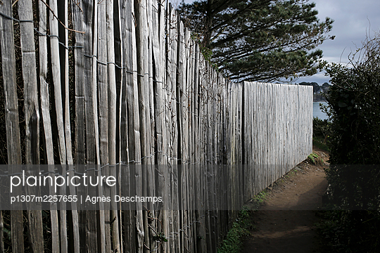 The path of the Douaniers and a wooden fence  - p1307m2257655 by Agnès Deschamps