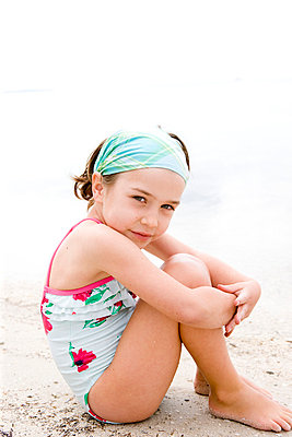 Little girl on the beach - p8940040 by Marzena Kosicka