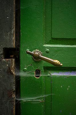 Spinnennetz an grüner Tür - p427m1195242 von Ralf Mohr