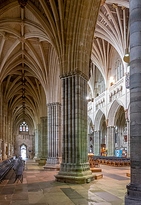 Nave and South Aisle looking North West, Exeter Cathedral, Exeter, Devon, England, United Kingdom, Europe - p871m2023417 by Nick Servian