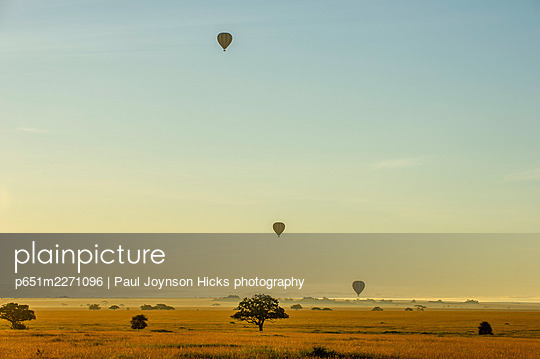 Hot air balloon,s Serengeti, Tanzania, Africa - p651m2271096 by Paul Joynson Hicks photography