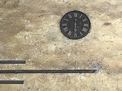 Clock on a cracked wall - p1048m2016797 by Mark Wagner