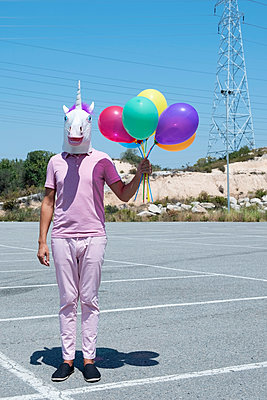 Unicorn with balloons - p1423m2022695 by JUAN MOYANO