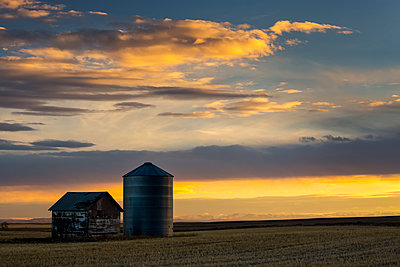 A Wooden Building And Metal Grain Bin At Sunset With Colourful Clouds And Blue Sky; Blackie, Alberta, Canada - p442m1499749 by Michael Interisano