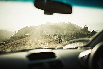 Car ride on a gravel track - p1477m1586664 by rainandsalt