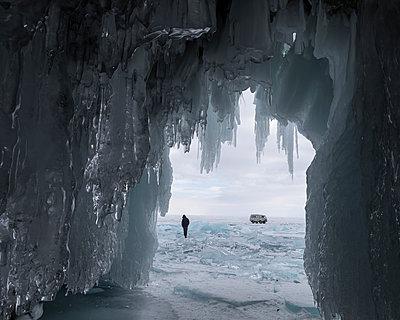View of icicles, Olkhon island, Lake Baikal  - p1542m2142392 by Roger Grasas