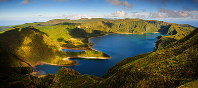 The big volcanic crater of Lagoa do Fogo (Fire Lagoon), a nature reserve and one of the most preserved sites in Sao Miguel. Azores islands, Portugal - p6511687 by Mauricio Abreu photography