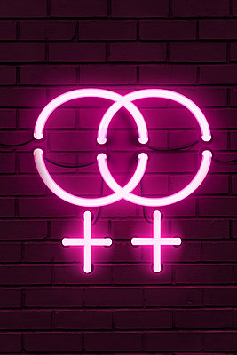 Pink neon light, lesbian symbolics - p1280m2291211 by Dave Wall