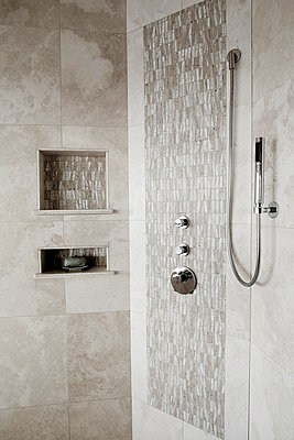 Tiled Shower and Shower Head - p5550784f by LOOK Photography