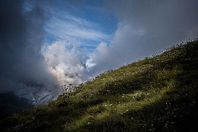 Almwiese unter dramatischem Himmel - p741m2077006 von Christof Mattes